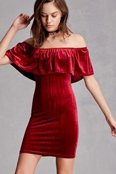 A velvet mini dress featuring an elasticized off-the-shoulder neckline, a flounce layer, a bodycon silhouette, and an invisible side zipper. This is an independent brand and not a Forever 21 branded item.