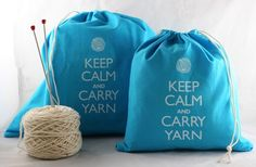Large knitting project bag - Keep Calm and Carry Yarn - turquoise ($18 on Etsy)