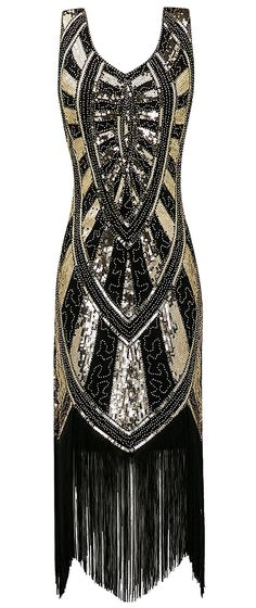 8d45dfa2b15 Black and Gold Sequin Flapper Dress. Art Deco Fashion. What to wear for a