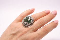 agate ring handmade wire wrapped jewelrygreen agate by BeyhanAkman, $22.00