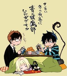 Yukio, Rin y Shiemi // Ao no exorcist-blue exorcist Rin Okumura, Rin And Shiemi, Ao No Exorcist, Blue Exorcist Anime, Mirai Nikki Future Diary, Mini Comic, Manga Pictures, Manga Games, Chibi