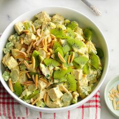 Almond Chicken Salad Recipe -My mother used to prepare this salad for an evening meal during the hot summer months. It also serves well… Chicken Salad Recipe With Almonds, Chicken Salad Recipes, Chicken Salads, Chicken Couscous, Couscous Salad, Pasta Salad, Salad Bar, Soup And Salad, Almond Chicken