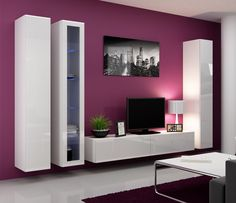 Seattle 3 Wall Units  Dimensions wall units: Height / width / depth  Fronts: Black high-gloss or high-gloss white Body: White matt or black matt  TOTAL SIZE WALL UNITS ~ 180/270/42 cm