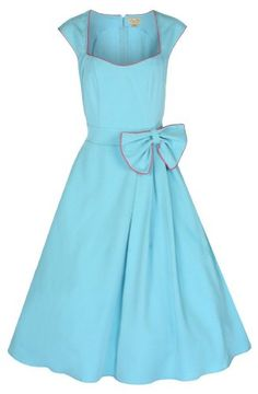 Lindy Bop 'Grace' Classy Vintage 1950's Rockabilly Style Bow Swing Party Dress (XS, Turquoise) Lindy Bop