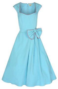 Lindy Bop 'Grace' Classy Vintage 1950's Rockabilly Style Bow Swing Party Dress (XS, Turquoise) Lindy Bop