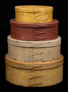 Shaker Stacking Boxes - this reminds me yet again that I need to paint my repro boxes in some wonderful primitive colors!  Gorgeous!