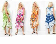 Bright Patterned Boho Hippie Festival Tie Dye Sleeveless Dress Asymmetric 8 - 16 #Unbranded #KaftanBeachDress #AnyOccasion Hippie Festival, Boho Hippie, Boho Dress, Kaftan, Beachwear, Tie Dye, Kimono Top, Cover Up, Bright