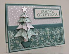 Stampin' Up! - Another Origami Christmas Tree Card!  Teri Pocock - http://teriscraftspot.blogspot.co.uk/2014/12/another-origami-christmas-tree-card.html