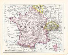 Small France Map Of Belgium Antique Wall Decor Color Switzerland Atlas Art Print No