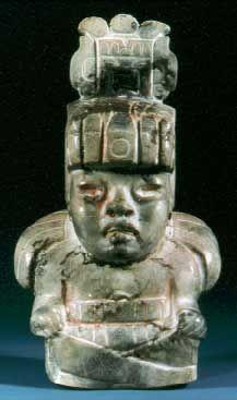 Olmec Figurine Mexico- Seated figure, 900 - 300 B.C. Diopside-jadeite