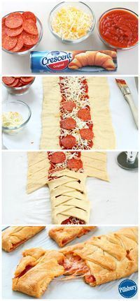 A family fun night couldn't be easier than with this Kid-Favorite Pepperoni Pizza Braid. Guaranteed to please! A family fun night couldn't be easier than with this Kid-Favorite Pepperoni Pizza Braid. Guaranteed to please! Pizza Braid, Braided Pizza Bread Recipe, Pizza Twists, Snacks Für Party, Appetizer Recipes, Dinner Recipes, Pizza Appetizers, Dinner Ideas, Appetizer Ideas
