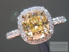 Diamonds by Lauren - canary diamond in halo the canary colour is beautiful Canary Diamond, Halo Diamond, Beautiful Wedding Rings, Dream Wedding, Dress Rings, Modern Jewelry, Wedding Ring Bands, Fancy, Jewels