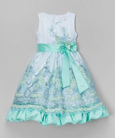 Look at this Teal Floral Embroidered Dress - Infant, Toddler & Girls on #zulily today!