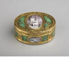 Snuff box  Jean-Joseph Barrière (active between: 1763 - 1793), Goldsmith	  After François Boucher (1703 - 1770), (miniatures) Paris, France 1770 - 1771  Gold & enamel, chased, painted & chiselled