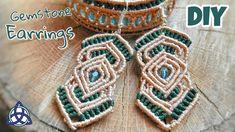 How to Make Green Macrame Beaded Earrings Tutorial Macrame Earrings Tutorial, Earring Tutorial, Macrame Necklace, Macrame Bracelets, Beaded Earrings, Micro Macramé, Hemp Jewelry, Wire Jewelry, Handmade Jewelry