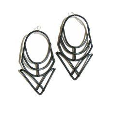 JamieSpinello   Geometric Earrings - Hathor Design - Black Finish - handmade jewelry - Art Deco and Prairie school revival - handmade in Austin, Tx