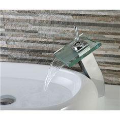 (Entrepôt UE) Robinet de lavabo avec bec verre contemporaine cascade pour  salle de bain cf3dde9127b8