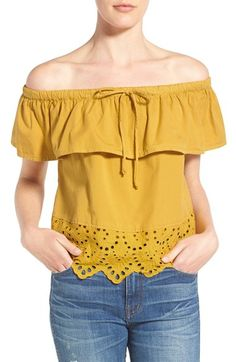 Madewell 'Balcony' Eyelet Off the Shoulder Top