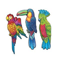 3 pc Cardboard Cutout  EXOTIC BIRDS Luau Tropical  Birthday Dance Party Decorati #Beistle