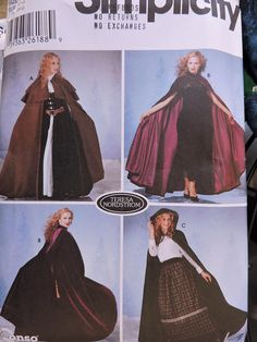 Simplicity 5794 Hooded Cape Cloak in 3 Styles Costume Pattern Misses Size XS - L New uncut 2002 Please contact me if you need more info. Simplicity Sewing Patterns, Sewing Patterns Free, Free Sewing, Clothes Patterns, Cloak Pattern, Hooded Cloak, Hooded Capes, Costume Patterns, Costume Ideas