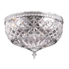 "Lead Crystal 12"" Wide Flushmount Ceiling Light Fixture"