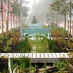 Inside Seabrook, Washington | Misty morning on Garden Promenade | CoastalLiving.com