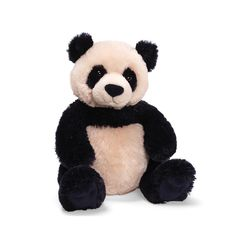 "This adorably cute panda is done in unique GUND style. A mix of dark navy and cream, Zi-Bo is about 12"" long (from his head to the tip of his toe) and -- of course -- he's huggably soft! The leading s"