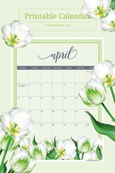 Download a free printable floral calendar for April 2018 and the rest of the year! Sunday and Monday start included. #calendar2018 #February #printable #freebie| countryhillcottage.com