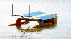 autónoma oceano barco de limpeza de plástico movido a energia solar