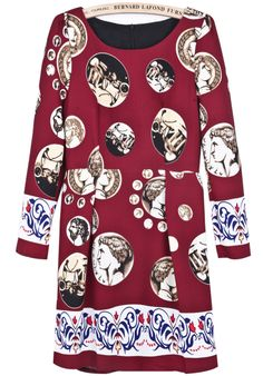 Wine Red Long Sleeve Vintage Coins Print Dress US$31.15