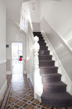 hallway, high skirtings, bit of wall, dado then wallpaper above Edwardian Haus, Tiled Hallway, Grey Hallway, Hallway Carpet, Stair Carpet, Dado Rail Hallway, Hallway Paint, Victorian Hallway, Hallway Inspiration