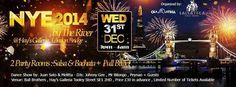 Title: Latin New Year's Eve by the River. NEW YEAR'S EVE 2014 BY THE RIVER - WEDNESDAY 31st DECEMBER with 2 Party Rooms: Salsa Room and Bachata Room + Buffet + Dance Show. Date and Time: On Wednesday December 31, 2014 at 7:00 pm (ends Thursday January 01, 2015 at 4:00 am). Category: Arts - Performing Arts - Dance. Price: In advance: GBP 30.