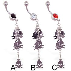 Jeweled belly ring with dangling skulls and chains