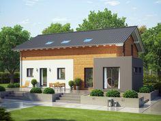 Evolution 208 V3 – Zweifamilienhaus • Holzhaus von Bien-Zenker • Mehrgenerationenhaus mit Einliegerwohnung und Fassadenverkleidung aus Holz • Jetzt bei Musterhaus.net informieren!