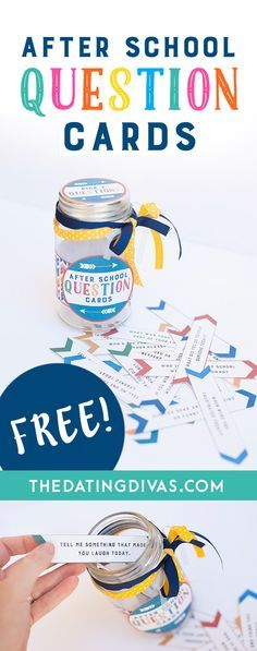 Free Printable After School Question Cards! 25 great questions to ask kids after school to start meaningful conversations. www.TheDatingDivas.com