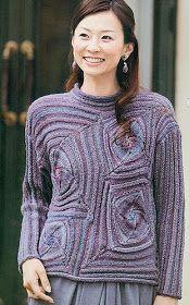 Japanese sweater found on Russian knitting site Knitting Stitches, Knitting Needles, Crochet Magazine, Knit Fashion, Knitted Shawls, Crochet Projects, Knitwear, Knitting Patterns, Lace Knitting