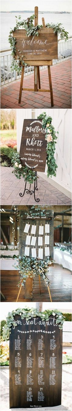 Pretty wooden signs for a rustic wedding #weddingsigns #rusticwedding