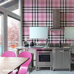 Pink #tartan wallpaper by Fototapeta4u.pl