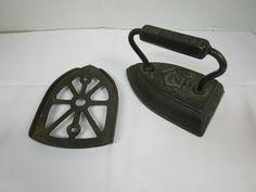 Vintage Black Cast Iron Clothes Iron