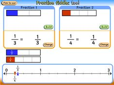 Fraction bars with corresponding fractions and a comparative fraction slider. Fractions Year 3, Fraction Bars, Bar Chart, Activities, Bar Graphs