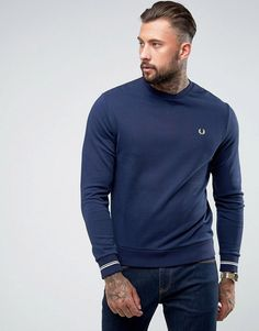 Fred Perry Crew Neck Tipped Cuff Sweat in Navy - Navy