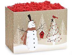 Woodland Snowman Gift Basket Box