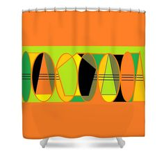 Shower Curtain of 'Limes and Oranges 1' by Sumi e Master Linda Velasquez.