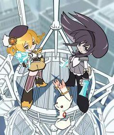 Madoka Magica - Panty and Stocking style- Mami, Homura, and Kyubey. I love this.