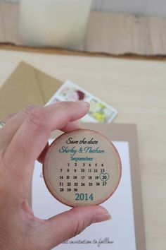 Rustic save the date calendar Save the date Wood magnets