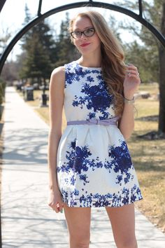 blue-and-white-floral dress