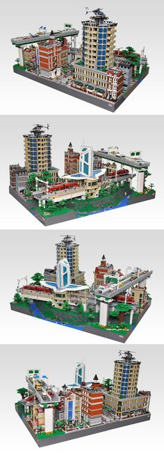 LEGO station, train, buildings