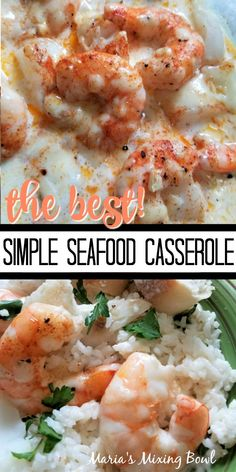Simple Seafood Casserole - The simplest yet our favorite seafood casserole. The garlic and cream bring this all together in a delicious brothy sauce. Shrimp Casserole, Seafood Casserole Recipes, Best Seafood Recipes, Shrimp Recipes For Dinner, Shrimp Recipes Easy, Seafood Dinner, Casserole Dishes, Clam Recipes, Copycat Recipes