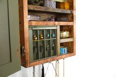 Wall mounted jewelry storage from repurposed wood by TANGLeAndFoLd, $140.00