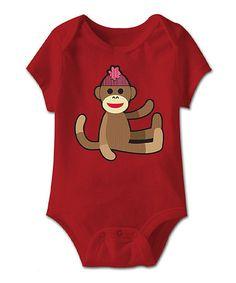 Look at this #zulilyfind! Red Sock Monkey Wave Bodysuit - Infant #zulilyfinds